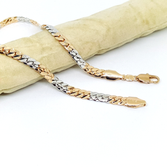 1-0030-h1 Gold Plated Two Tone Cuban Link Anklet. 10""