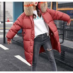 Womens Oversize Puffy Jacket with Faux Fur Hood