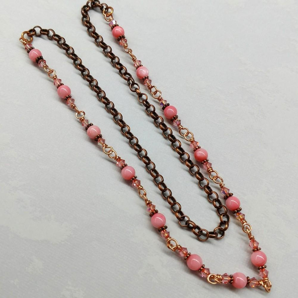 24 inches Wire Wrapped Peach Mother Of Pearl Crystal Gemstone Necklace