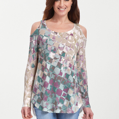 Crackle Mint (2870) ~ Cold Shoulder Tunic