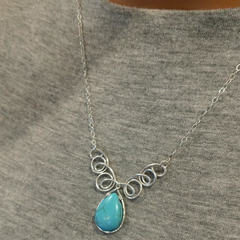 Adjustable Sterling Silver Wire Sculpted Turquoise Gemstone Drop Necklace