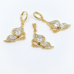 1-6383-h1 Gold Overlay CZ Butterfly Earring and Pendant Set. (5 Colors Available)
