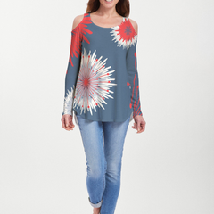 Flower Burst RWB (2027) ~ Cold Shoulder Tunic