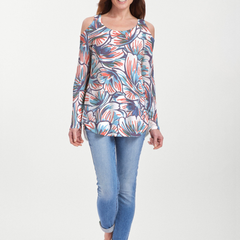 Floral Brush Marks (7649) ~ Cold Shoulder Tunic