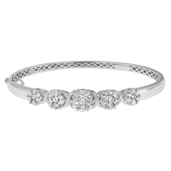 14K White Gold 2 1/2 ct. TDW Round-Cut Diamond Floral Bangle Bracelet (H-I,SI1-SI2)