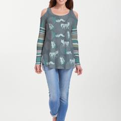 Fox Medallion Navy (13383) ~ Cold Shoulder Tunic
