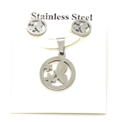 (4-9128-h9-10) Stainless Steel Earring and Pendant Butterfly Set.