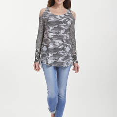 Camo-Floral Grey (9240) ~ Cold Shoulder Tunic