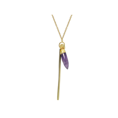 Amethyst Bullet & Golden Bar Necklace in Gold Plated Sterling Silver, 30""