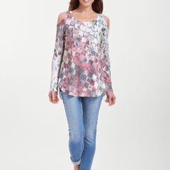 Crackle Pink (2869) ~ Cold Shoulder Tunic