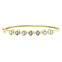 14K Yellow Gold 2.75ct.TDW Baguette-cut Diamond and Tanzanite Bangle (H-I, VS2-SI1)