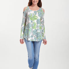 Abstract Rose Garden (7648) ~ Cold Shoulder Tunic