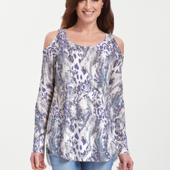 Abstract Leopard (7647) ~ Cold Shoulder Tunic