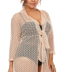 Plus Size Women's Spider Lace Beach Dress Cove Up Swimwear Made in USA