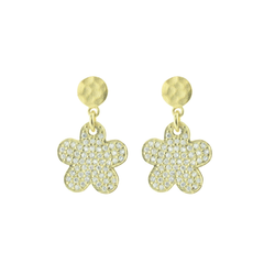 Sparkling Pave Cz Daisy Earrings in Gold Plated Sterling Silver, 15mm