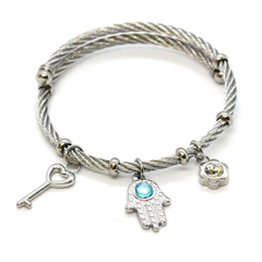(mban-928-h9-5) Stainless Steel Charms Wire Bangle.