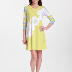Poppy Chartreuse (7146) ~ V-neck Swing Dress
