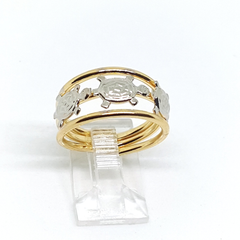 1-3102-h2 Gold Overlay Two Tone Turtles Ring.
