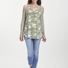 Camo-Floral Green (9239) ~ Cold Shoulder Tunic
