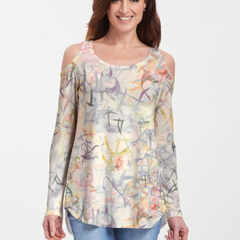 Floral Strokes Beige (7666) ~ Cold Shoulder Tunic
