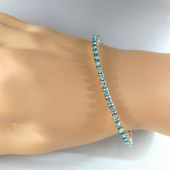 Stackable Adjustable Turquoise Crystal  Wire Wrapped Rhinestone Bangle