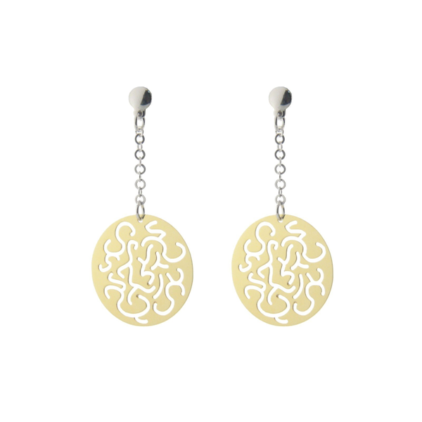 "Sterling Silver Earring Dangling  Filigree Discs Gold Plated  .75""X.75""  Gold Plated 2"""