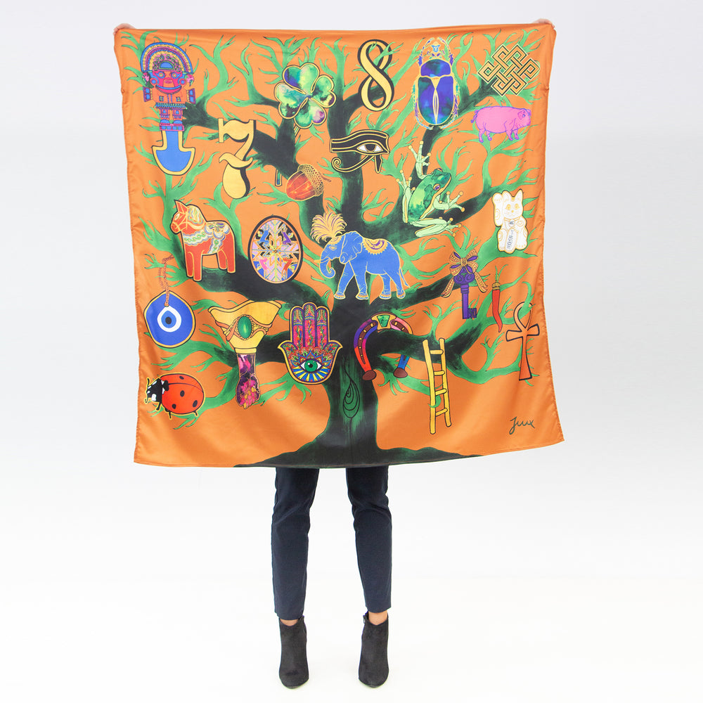 "Load image into Gallery viewer, ""You Are My Lucky Charm"" Satin Scarf"