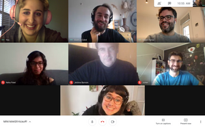 A zoom meeting with seven smiling people, this is the Casa Rara team.
