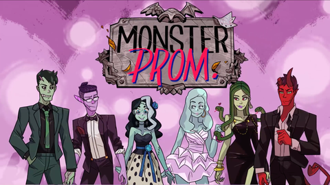 Monster Prom logo with a bunch of the characters in their prom outfits standing below.