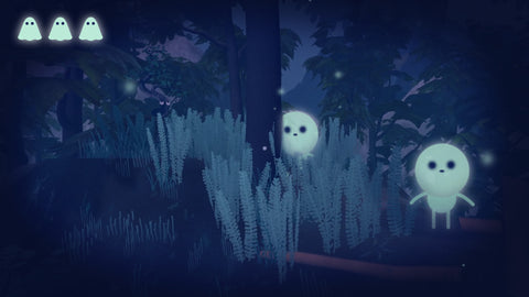 An image of some Penko Park gameplay. Tiny, cute, ghost-like figures creeping out from behind some trees.