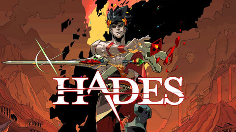 "Zagreus, son of Hades, stands behind the words ""Hades"" with a blade in hand and a smug smile."
