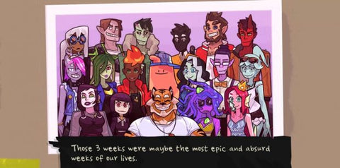 "A class photo of all the monsters of Monster Prom. Below the photo it says ""Those 3 weeks were maybe the most epic and absurd weeks of our lives."""