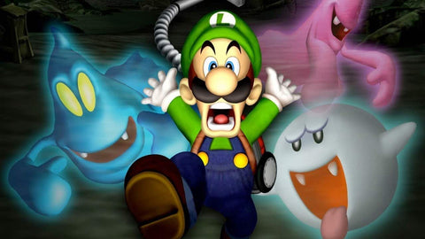 A picture of a frightened Luigi running away from Boo and other ghosts.