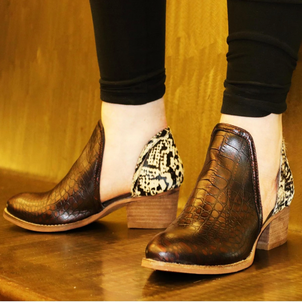 Shy Town Brown Crocco Bootie
