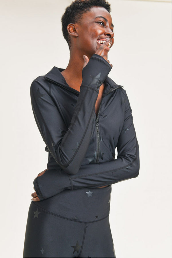 Black Star Foil Cropped Jacket with Thumb Holes