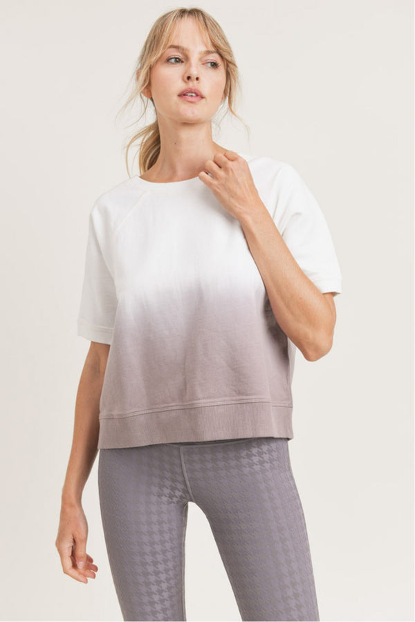Dip-Dye Cotton Terry Raglan Top