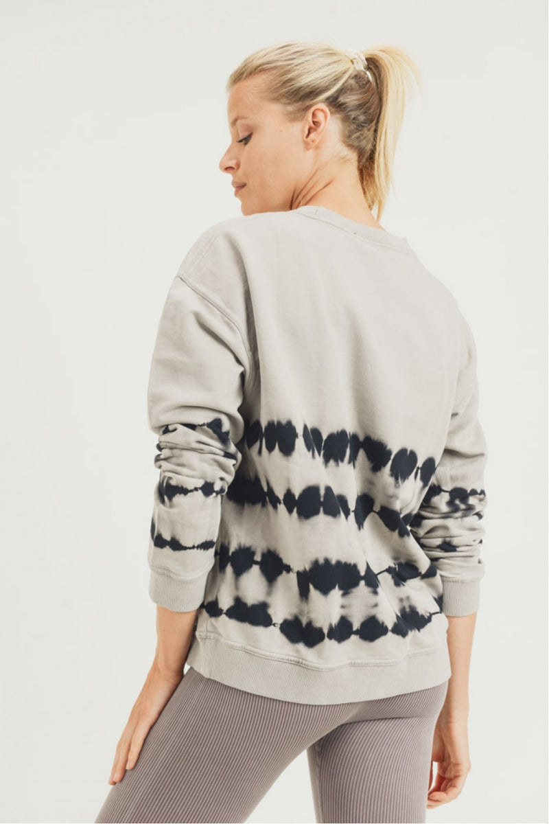 Terry Cotton Tie-Dye Brush-Stroke Pullover