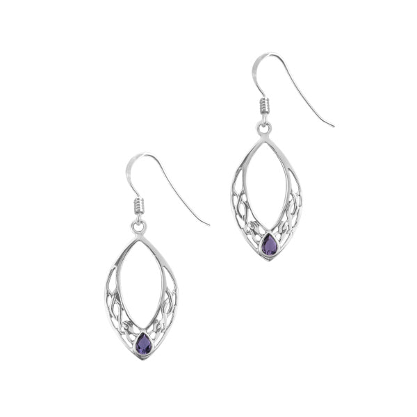 Celtic Silver Oval Drop Earrings with Amethyst Colour Stone