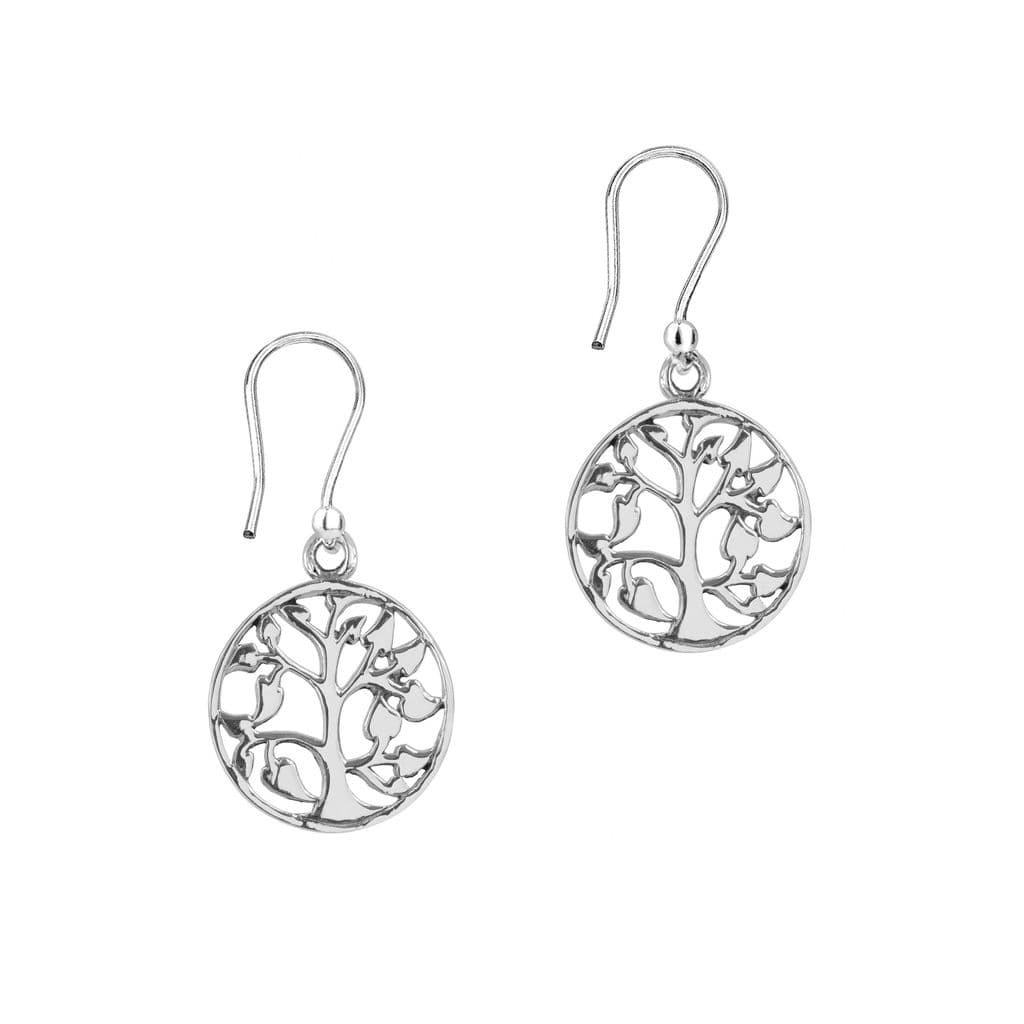 Celtic Tree of Life Silver Round Drop Earrings