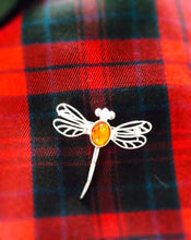 Load image into Gallery viewer, Outlander Inspired Dragonfly Silver Plated Brooch with Amber