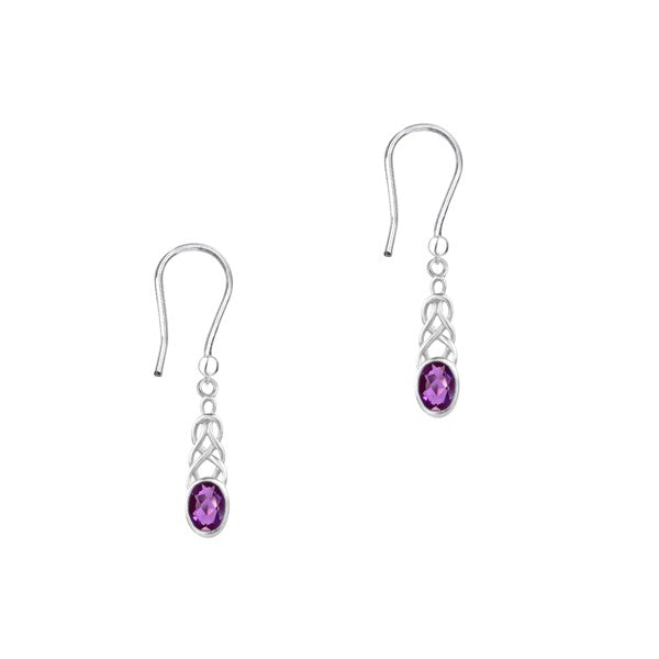Celtic Silver Drop Earrings with Amethyst Colour Stone