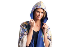 Load image into Gallery viewer, Tiffany Peonies & Iris Reversible Travel Cape