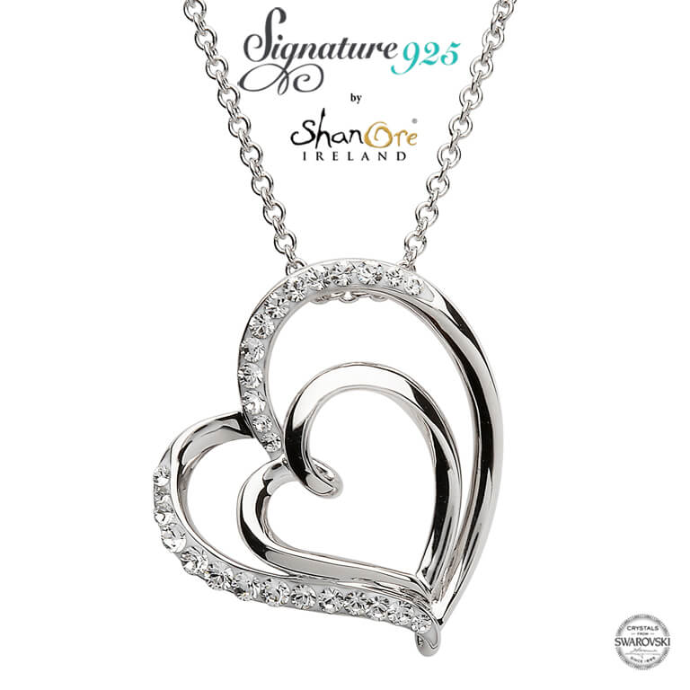 Shanore Double Heart Silver Pendant Adorned with Swarovski Crystals