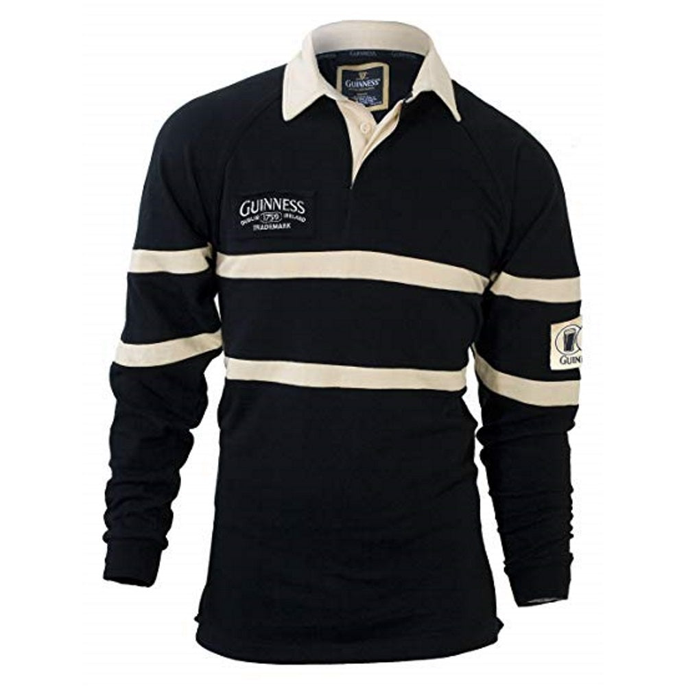 Guinness Black & Cream Traditional Rugby Shirt