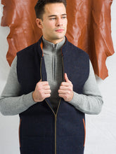 Load image into Gallery viewer, Men's Navy Tweed Body Warmer and Gilet with Leather Trims