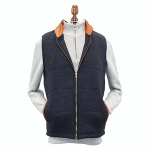 Men's Navy Tweed Body Warmer and Gilet with Leather Trims