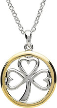 Load image into Gallery viewer, Platinum Plated Shamrock Round Pendant