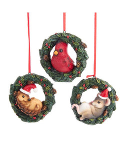 Birch Berry Cardinal, Hedgehog and Mouse In Wreath Ornaments, 3 Assorted