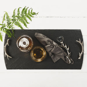 Large Slate Serving Tray with Antler Handles
