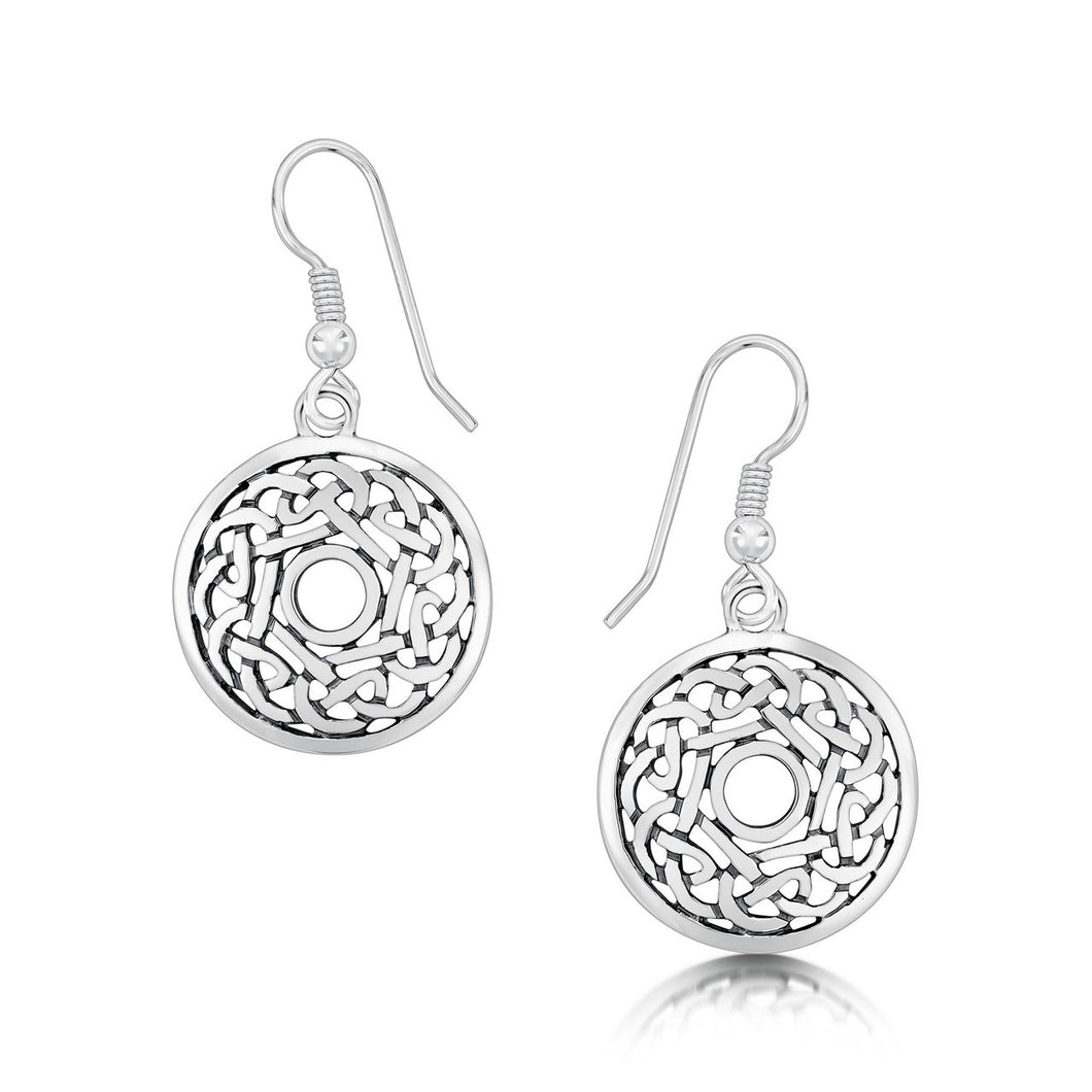 Celtic Drop Earrings in Sterling Silver